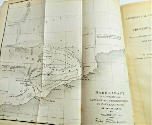 1845 YEMEN MAP SYRO-EGYPTIAN SOCIETY PAPERS PHARAOH OBELISK HADHRAMAUT TRAJAN