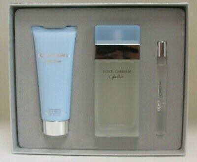 Woman In Light (Light Blue by Dolce & Gabbana 3pc Gift Set Perfume for Women 3.4 oz New In)