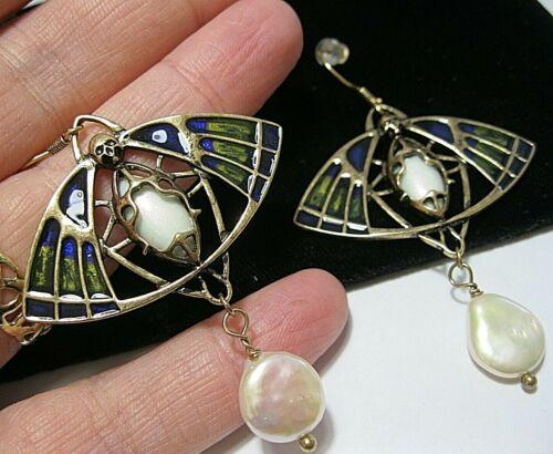 Vintage Style Art Nouveau Revival Enamel & Real Pearl Moth Drop EARRINGS NEW