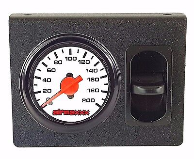 Dual Needle - Air Ride Dual Needle Air Gauge White Face 200psi, Panel & 1 Paddle Switch