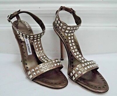 NEW MANOLO BLAHNIK $865 bronze leather silver studded heels sandals size 38