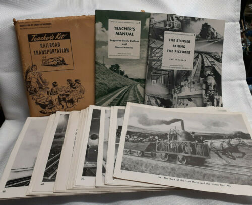 Vtg 1950 Association Of American Railroads Teachers Kit With 56 Photos Of Trains
