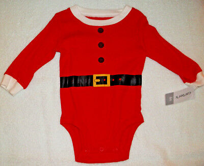 Carter's Santa Bodysuit Onezee Size 6 Months Red Christmas