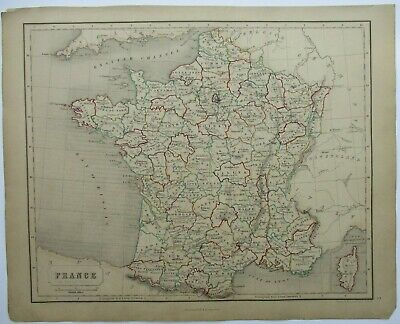 Antique Map of France by William & Robert Chambers 1845