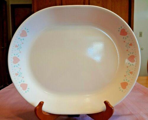 "VTG Corelle 12"" FOREVER YOURS SERVING PLATTER Corning PINK HEARTS Dish MEAT"