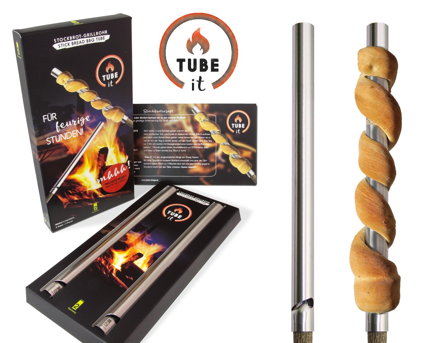 Take2 Tube-it Stockbrot - Grillrohr 2er Set Edelstahl im Geschenkkarton 11879