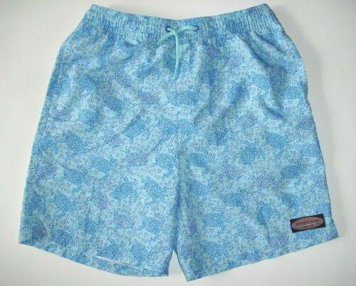 Vineyard Vines Boys Chappy Swim Trunks Size Large (16)  Blue Turtles Boardshorts