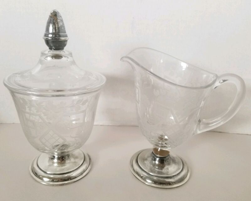 Rare Hawkes Cut Sugar Bowl W Lid & Creamer Set, Sterling Silver Base & Finial