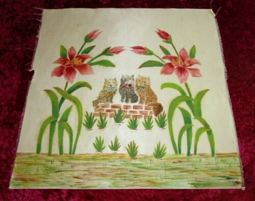 Antique 1920s SILK QUILT BLOCK ~ hand painted ~ 3 KITTENS & FLOWERS ~ 18x18
