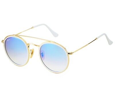 Cheap Gold Frames (Ray-Ban RB3647N Round Double Bridge 001/4O Gold Frame/Blue Gradient Flash)