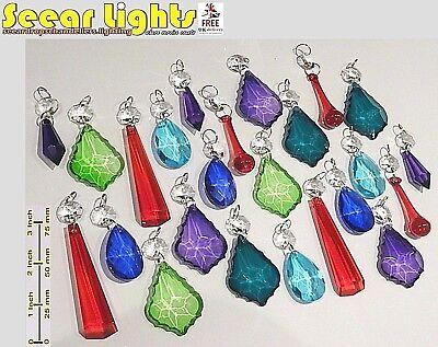 CHANDELIER GLASS CRYSTALS COLOR DROPLETS BEADS RETRO VINTAGE PRISMS LIGHT PARTS