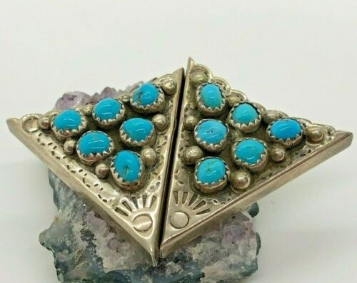 Vintage Sterling Silver 5mm Turquoise Shirt Collar Tips 11.6 Grams