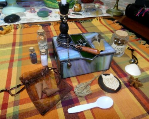 Green stained glass Witch box, pendulum, salts, dirt, incense, sage, candle more