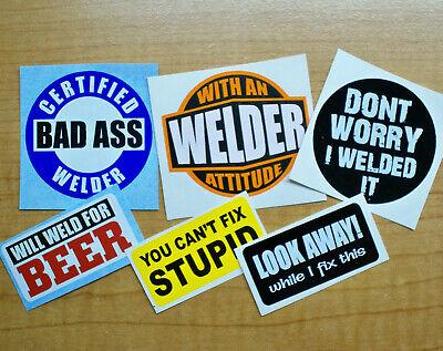 6-pk Funny Hard Hat Welding Helmet Stickers Welder Decals Weld 4 Beer Attitude