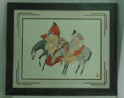 Carol Grigg Native American Artist Original Framed Print Waiting The White Moon