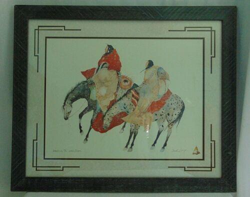 Carol Grigg Native American Artist Original Framed Print Waiting The White Moon