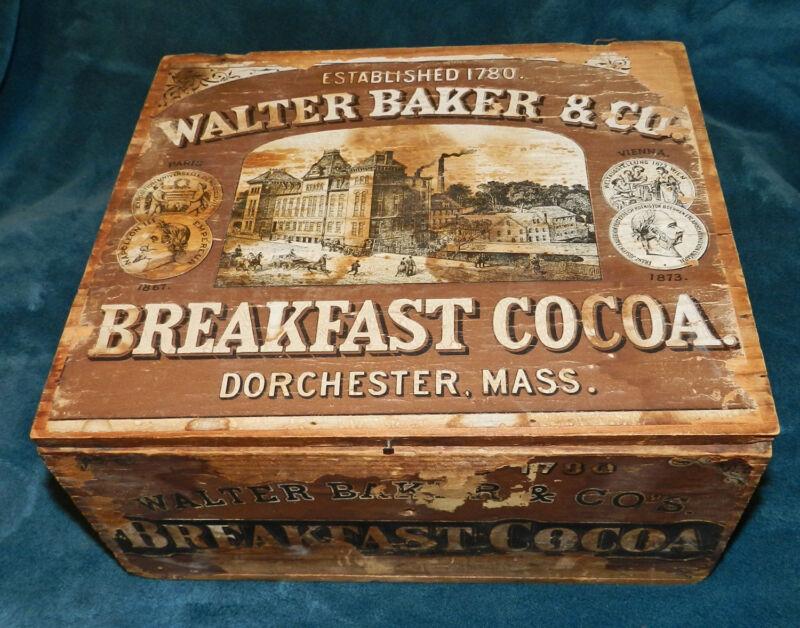 RARE ANTIQUE/PRIMITIVE WOOD WALTER BAKER 1780 BREAKFAST COCOA BOX ORIGINAL LABEL