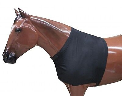 Showman LARGE BLACK Lycra Form Fitting & Breathable Horse Shoulder Guard! TACK!