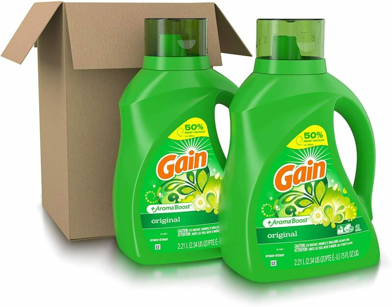 NEW Gain Laundry Detergent Liquid Plus Aroma Boost 96 Loads 75 Fl Oz (Pack of 2)