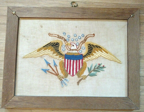 Vintage Needlepoint Hand Embroidered US Bald Eagle Great Seal Framed Art 13 star