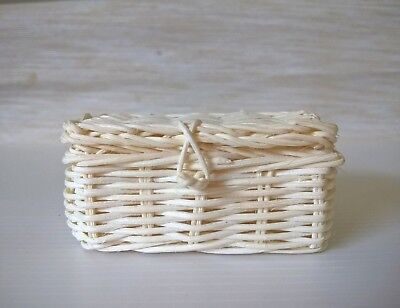 2 Mini Wicker Baskets Picnic Dollhouse Miniatures Handcrafted DIY Assorted Decor