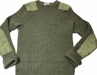 LL Bean Mens Military Commando Pure Wool Elbow Patch Green Sweater Large Tall