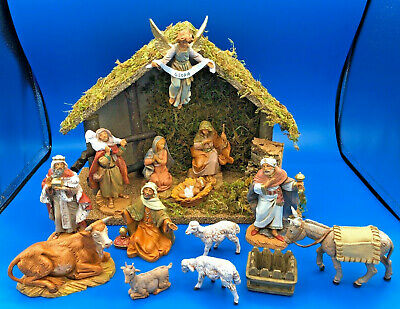 "Fontanini by Roman Inc 13 Piece Nativity Set w/ Lighted Creche 5"" Scale #5456412"