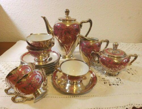 HEINRICH GERMANY 15 PC COFFEE TEA SET FILIGREE SILVER ON PORCELAIN HEARTS