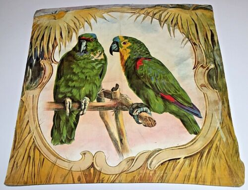 Antique Chromolithograph Large Fabric Square Bright Green Parrots