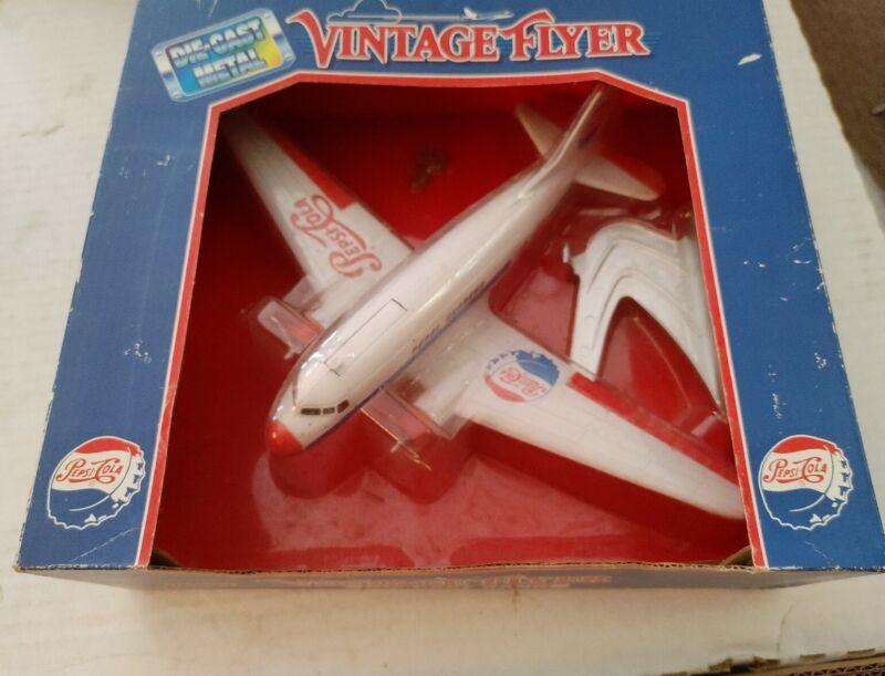 Pepsi Cola Vintage Flyer Die Cast Coin Bank Airplane Model Collectible NIB