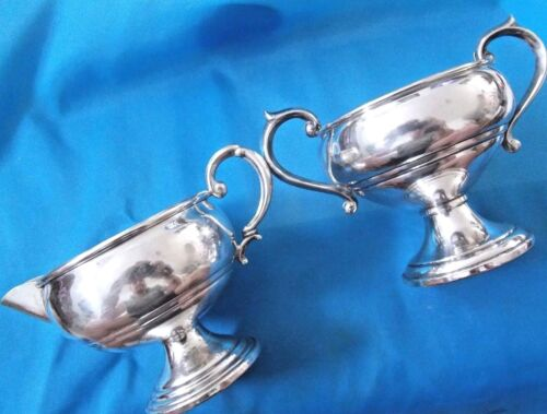vintage F.B. ROGERS & ARROWSMITH  Sterling Silver Milk Jug and Sugar Bowl