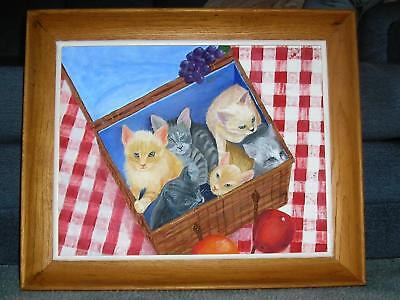 FOLK ART CATS KITTENS PICNIC BASKET APPLE GRAPES RED WHITE GINGHAM OIL PAINTING