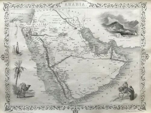 1851 Antique Map; Arabia - John Tallis / Rapkin
