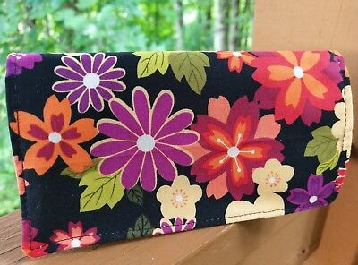 Handmade Fabric Checkbook Cover - floral on black