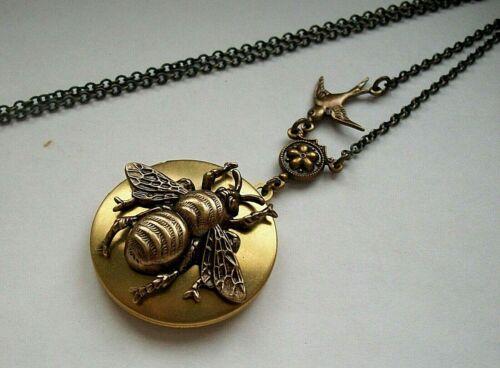 HONEY BUMBLE BEE Vintage LOCKET Necklace Victorian Steampunk ART NOUVEAU Style