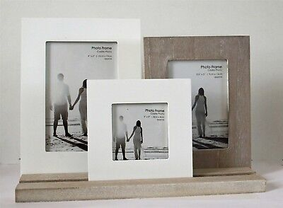 Set of 3 Wooden Photo Frames On Tray Rustic Collage Shabby Chic Style New ()