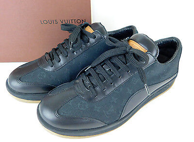 Auth LOUIS VUITTON Monogram Mini Canvas Leather Sneakers Black Size 38 1/2 + Box