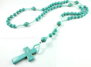 Long beads Turquoise Necklace with Turquoise Crosses Pendant-Genuine Stone