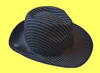Klasse Hut schwarz mit Nadelstreifen zB Kostüm Mafia Gangester 20er Jahre