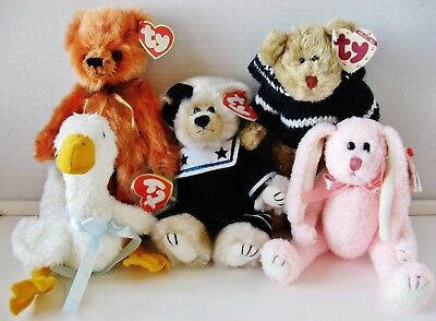 "Set of 5 ""Ty"" Attic Treasures Adorable Jointed Plush Animals from 1993"