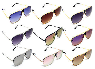 RIMLESS FLOATING LENSES BROW BAR TURBO AVIATOR SUNGLASSES RETRO HIP HOP VTG (Euro Hip Hop)