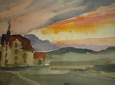 Expressive Landschaft mit Kloster Gem�lde J. Staben 1947 Expressionismus
