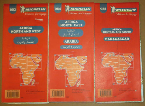 3 Maps Michelin 953 954 955 Africa Madagascar Arabia North West Route Road Wall