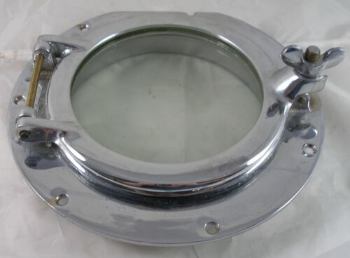"Antique bronze  porthole, Chrome plated, , 6"" glass, 10"" diameter Porthole"