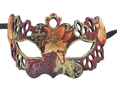 Mask Venice Colombine Tutti fruiti black red florale paper mash 2388