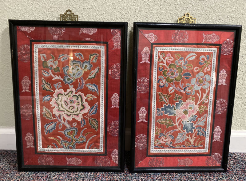 Antique Vintage Asian Chinese Embroidered Silk Panel Forbidden Stitch Knot
