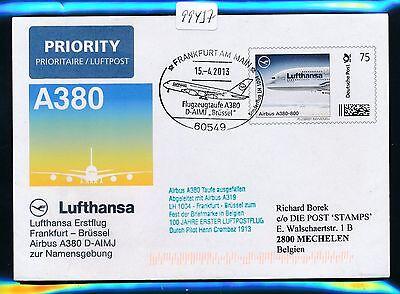 """99437) LH A380 SF Taufe Frankfurt - """"BRÜSSEL"""" 15.4.2013 Plusbrief Individuell"""