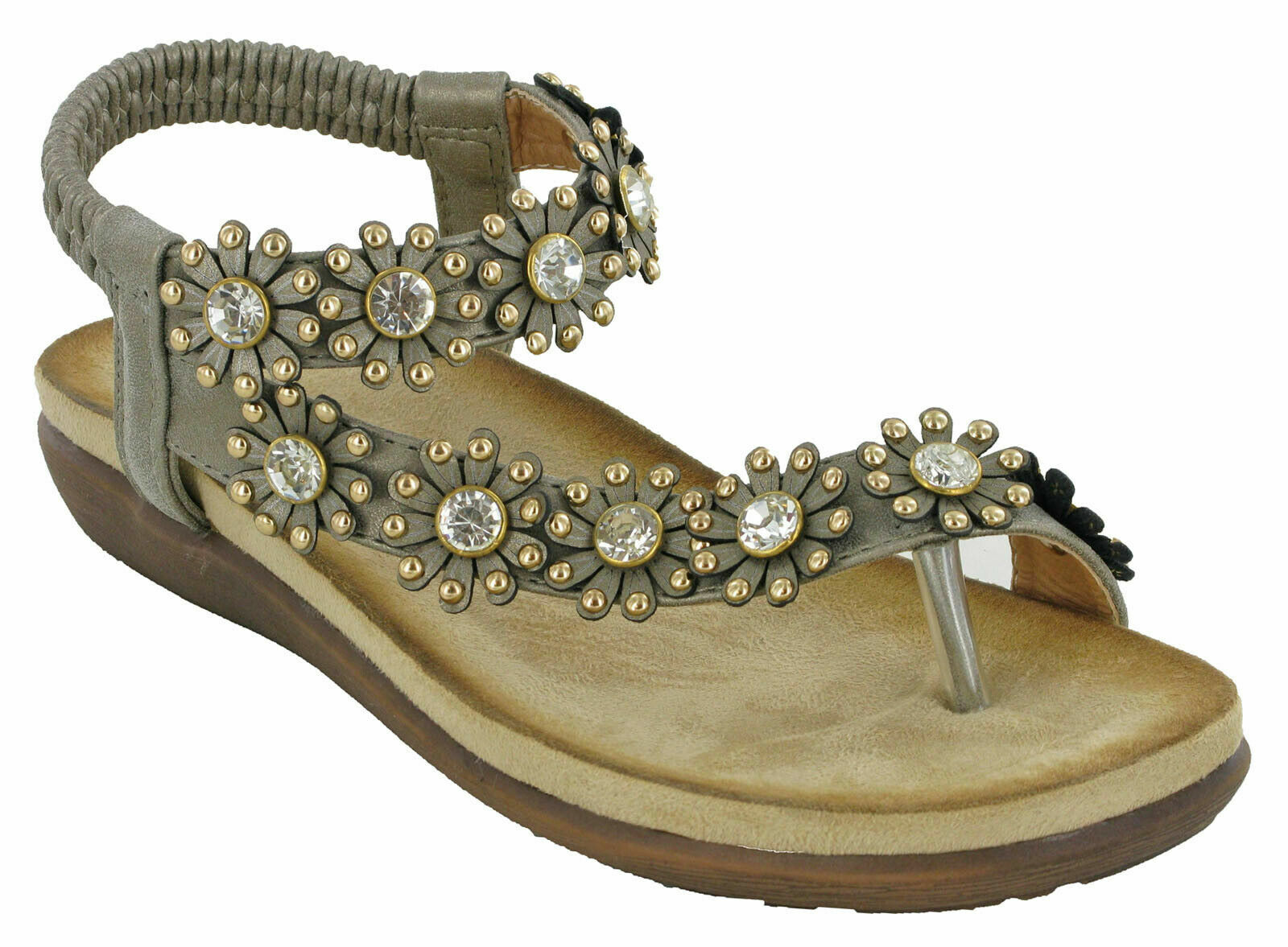 Cipriata Womens//Ladies Salva Toe Post Flower Design Sling Back Sandals DF1140