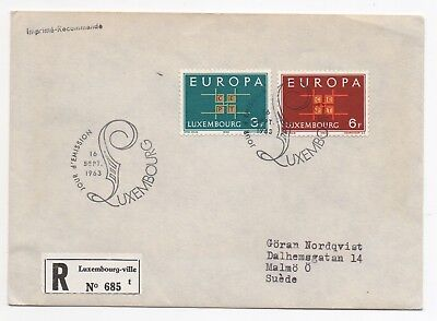1963 LUXEMBOURG Registered First Day Cover to MALMO SWEDEN SG730 + SG731 Europa