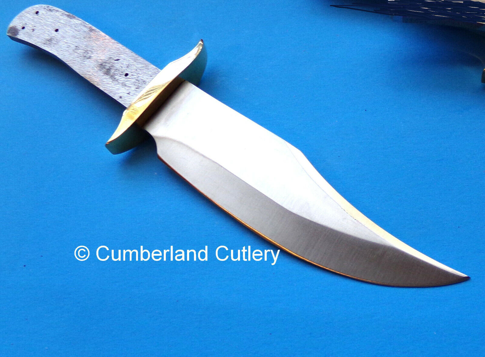 """Knife Making  Blade Blank Bowie with Brass Guard  10-1/2"""""""